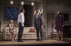 Nisi Sturgis (Emily), Bernard White (Amir), J. Anthony Crane (Isaac) and Zakiya Young (Jory) in Disgraced by Ayad Akhtar, directed by Kimberly Senior at Goodman Theatre.