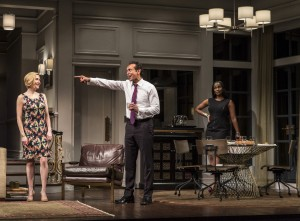 Nisi Sturgis (Emily), Bernard White (Amir) and Zakiya Young (Jory) in Disgraced by Ayad Akhtar, directed by Kimberly Senior at Goodman Theatre