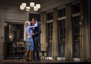 Nisi Sturgis (Emily) and Bernard White (Amir) in Disgraced by Ayad Akhtar, directed by Kimberly Senior at Goodman Theatre.