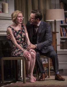 Nisi Sturgis (Emily) and J. Anthony Crane (Isaac) in Disgraced by Ayad Akhtar, directed by Kimberly Senior at Goodman Theatre.