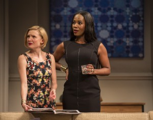Nisi Sturgis (Emily) and Zakiya Young (Jory) in Disgraced by Ayad Akhtar, directed by Kimberly Senior at Goodman Theatre.