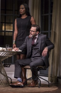 Zakiya Young (Jory) and J. Anthony Crane (Isaac) in Disgraced by Ayad Akhtar, directed by Kimberly Senior at Goodman Theatre.