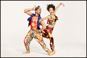 Matthew Dibble and Rika Okamoto in Yowzie costumes