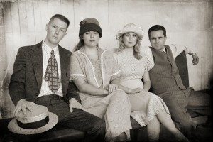 Brandon Michael Perkins, Alyssa M. Simmons, Ashley Fox Linton and Will Collyer asThe Barrow Gang in Musical Theatre Guild's BONNIE AND CLYDE. Photo by Stan Chandler.