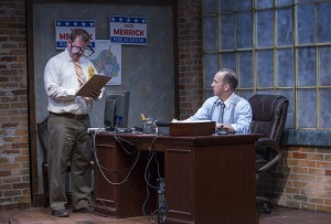 Joe Foust and Joe Dempsey in The (curious case of the) Watson Intelligence at Theater Wit. Photo by Charles Osgood.