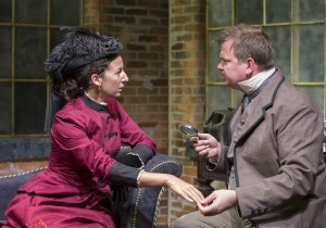 Kristina Valada-Viars and Joe Foust in The (curious case of the) Watson Intelligence at Theater Wit