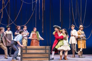 Caleb Donahoe (Boy), Matt Mueller (Black Stache) Emma Rosenthal (Molly) and the cast of Peter and the Starcatcher.