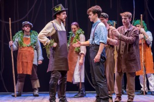 Andrew Mueller (Fighting Prawn), Caleb Donahoe (Boy) and the cast of Peter and the Starcatcher.