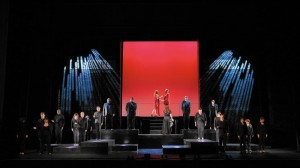 The full cast and the Apollo Chorus in Chicago Opera Theater's production of Mozart's LUCIO SILLA. Photo by Liz Lauren.