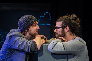 Andrew Huber and Leeav Sofer in Man Covets Bird at 24th Street Theatre. Photo by Cooper Bates.