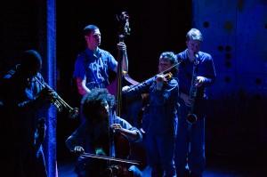 Darius Smith, Mia Pixley (front), Fred Epstein (behind her), Jessie Shelton, Eamon Goodman in FUTURITY. Photo by Ben Arons.