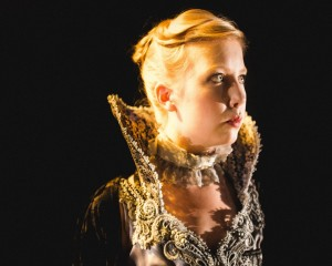 Erica Bittner as Queen Elizabeth in Oracle Theatre's production of NO BEAST SO FIERCE. Photo by Joe Mazza, Brave Lux.