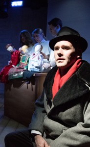 (Front) Ed Dzialo, (rear) Sarah Gitenstein, Kristen Johnson and Sam Hubbard in Strawdog's production of The Long Christmas Ride Home. Photo by KBH Media.