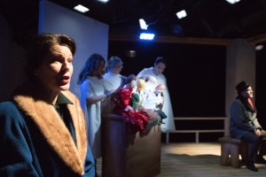 (Front) Loretta Rezos, (rear) Sarah Gitenstein, Kristen Johnson, Sam Hubbard and Ed Dzialo in Strawdog's production of The Long Christmas Ride Home. Photo by KBH Media.