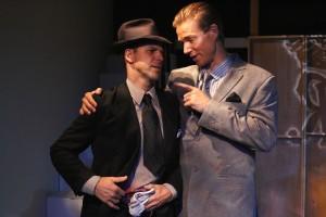 JASON PAUL FIELD AS HUMPHREY BOGART AND JILON VANOVER AS PAUL HENREID IN SOMETHING TRULY MONSTROUS.