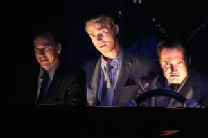JASON PAUL FIELD AS HUMPHREY BOGART, JILON VANOVER AS PAUL HENREID AND AMIR LEVI AS PETER LORRE IN SOMETHING TRULY MONSTROUS.