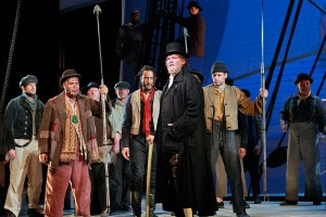 Jay Hunter Morris and ensemble in a 2013 San Francisco Opera performance of MOBY DICK. Photo by Cory Weaver