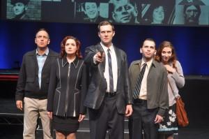 Kevin McMahon, Stephanie Fredricks, Josh Wise, Jake Novak, Shaina Knox in SONDHEIM ON SONDHEIM at ITC. Photo by Suzanne Mapes.