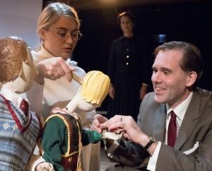 Kristen Johnson, Loretta Rezos and Ed Dzialo in Strawdog's production of The Long Christmas Ride Home. Photo by KBH Media.