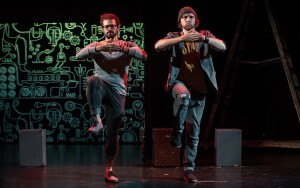 Leeav Sofer and Andrew Huber star in Man Covets Bird at 24th Street Theatre. Photo by Cooper Bates