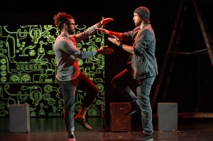 Leeav Sofer and Andrew Huber star in Man Covets Bird at 24th Street Theatre. Photo by Cooper Bates.