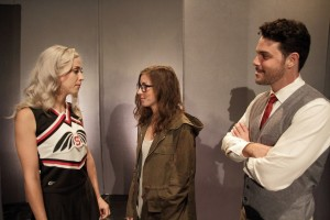 Lillian Solange,  Katie Pelensky,  John McKetta in Couerage Theatre Company's THE SPARROW. Photo by John Klopping.