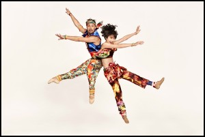 Matthew Dibble and Rika Okamoto in Yowzie costumes