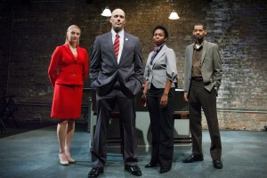 Melanie Derleth as Leslie, Vance Smith as Patrick, Kanome Jones as Gaby, and David Lawrence Hamilton as Jamal in The Firestorm by Meridith Friedman. Photo by Ian McLaren.