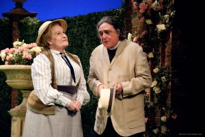 Miss Prism and Rev. Chasuble in NTL's THE IMPORTANCE OF BEING EARNEST. Photo by Nobby Clark.