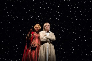 Lisa Gaye Dixon (Ghost of Christmas Present) and Larry Yando (Ebenezer Scrooge) in A Christmas Carol at Goodman Theatre (November 14 – December 27, 2015).