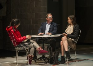 Emily Chang (Cassidy), Tom Irwin (Bill), and Melanie Neilan (Casey) in Steppenwolf Theatre Company's production of Domesticated, written and directed by Bruce Norris.
