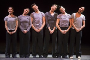 Hubbard Street Dancers in The Art of Falling, from left Kellie Epperheimer, Alicia Delgadillo, Kevin J. Shannon, Jane Rehm, Jacqueline Burnett and Ana Lopez. Photo by Todd Rosenberg.