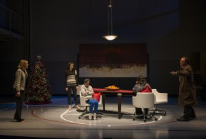 Mary Beth Fisher (Judy), Melanie Neilan (Casey), Emily Chang (Cassidy), Meighan Gerachis (Pilar), and Tom Irwin (Bill) in Steppenwolf's production of Domesticated, written and directed by Bruce Norris.