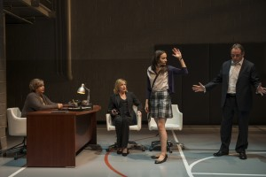 Meighan Gerachis (Principal), Mary Beth Fisher (Judy), Melanie Neilan (Casey), and Tom Irwin (Bill) in Steppenwolf Theatre Company's production of Domesticated, written and directed by Bruce Norris