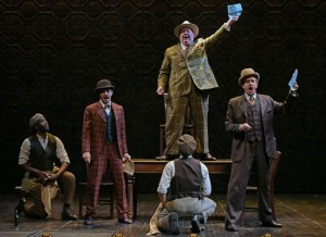 Christopher Henry Young, Joe Wegner, Daniel T. Parker (on table), Jonathan Luke Stevens, and David Kelly in The Oregon Shakespeare Festival Production of GUYS & DOLLS. Photo by Kevin Parry.