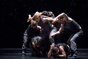 Hubbard Street Dancers in Solo Echo by Crystal Pite: Florian Lochner, center with, clockwise from below left: Emilie Leriche, Kellie Epperheimer, Michael Gross, Jacqueline Burnett, Andrew Murdock, far right, and Jesse Bechard. Photo by Todd Rosenberg.