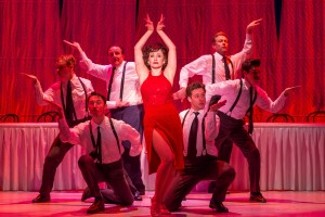 Michelle Aravena (center) as Rose with cast members from Drury Lane's BYE BYE BIRDIE. Photo by Brett Beiner.