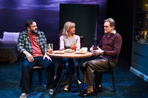 Stef Tovar, Lia Mortensen and Raymond Fox in Route 66 Theatre Company's Midwest premiere of NO WAKE by William Donnelly, directed by Kimberly Senior. Photo by Brandon Dahlquist.