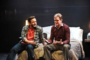 Stef Tovar and Raymond Fox in Route 66 Theatre Company's Midwest premiere of NO WAKE by William Donnelly, directed by Kimberly Senior. Photo by Brandon Dahlquist.
