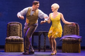 Bradley Allan Zarr (Warner Purcell) and Jemma Jane (Olive Neal) in the North American tour of BULLETS OVER BROADWAY. Photo by Matthew Murphy.