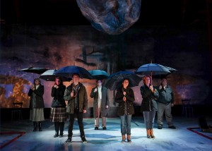 Cristina Soria, Beth Gallagher, Josh Odsess-Rubin, Adrian Alita, Rachael VanWormer, Rosina Reynolds, Tom Stephenson in WHEN THE RAIN STOPS FALLING at Cygnet Theatre. Photo by Ken Jacques.