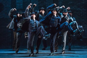 Jeff Brooks (Cheech) and the cast of the North American tour of BULLETS OVER BROADWAY. Photo by Matthew Murphy.