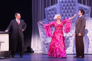 Michael Corvino (Nick Valenti), Jemma Jane (Olive Neal) and Michael Williams (David Shayne) in the North American tour of BULLETS OVER BROADWAY. Photo by Matthew Murphy.