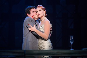 Michael Williams (David Shayne) and Emma Stratton (Helen Sinclair) in the North American tour of BULLETS OVER BROADWAY. Photo by Matthew Murphy.