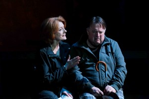 Rosina Reynolds and Tom Stephenson in WHEN THE RAIN STOPS FALLING at Cygnet Theatre. Photo by Ken Jacques.