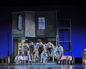 The company (Jets) in Musical Theatre West's Production of West Side Story