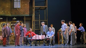 The company (Sharks and Jets) in Musical Theatre West's Production of West Side Story