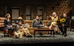 "Taissa Farmiga, Ed Harris, Rich Sommer, Amy Madigan, Larry Pine in Sam Shepard's ""Buried Child,"" directed by Scott Elliott, Off-Broadway at The New Group. Photo credit: Monique Carboni."