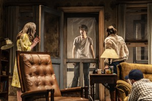 "Amy Madigan, Nat Wolff, Taissa Farmiga, Ed Harris in Sam Shepard's ""Buried Child,"" directed by Scott Elliott, Off-Broadway at The New Group."