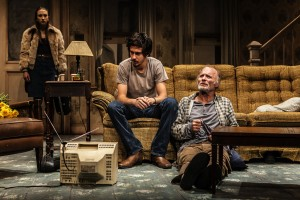 "Taissa Farmiga, Nat Wolff, Ed Harris in Sam Shepard's ""Buried Child,"" directed by Scott Elliott, Off-Broadway at The New Group. Photo credit: Monique Carboni."